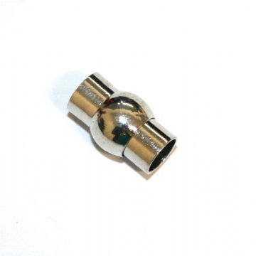 10pcs x inside measurement 8mm rhodium plated magnetic barrel and ball clasp - S.F - 3009109